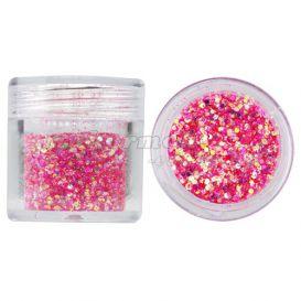 Hatszög csillámporban, 1mm - rózsaszínes piros, 10g