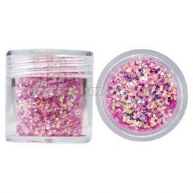 Hatszög csillámporban, 1mm - rózsaszínes lila, 10g