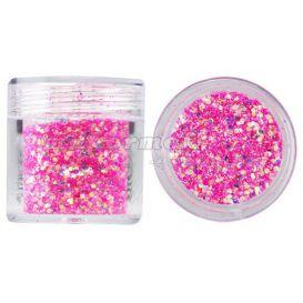 Hatszög csillámporban, 1mm - rózsaszín, 10g