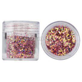 Hatszög csillámporban, 1mm - világos rózsaszín, 10g