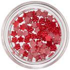 Kis körömdíszítő virágocskák - piros, gyöngyházfényes