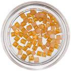 Körömdíszítő négyzetecskék - sárgás narancssárga, gyöngyházfényes