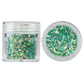Hatszög csillámporban, 1mm - zöld, 10g